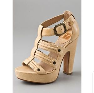 Frye Catrin Trapunto leather platform heels 7.5